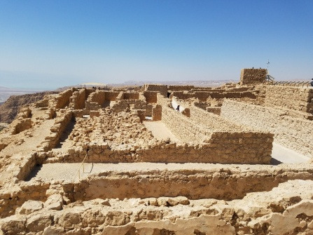The ruins atop Masada, where Roman legionnaires attacked Jewish Zealots