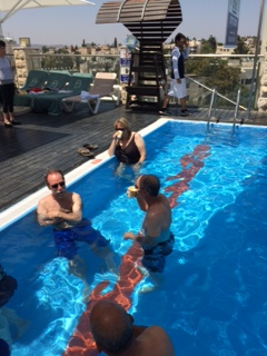 Relaxing in the rooftop pool at the Dan Panorama Hotel in Jerusalem.